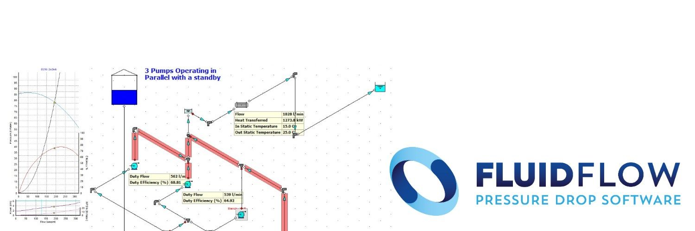 FLUIDFLOW permite simular el funcionamiento de una red hidraulica, ver puntos de funcionamiento en bombas, perdidas de carga, potencial de cavitacion, etc