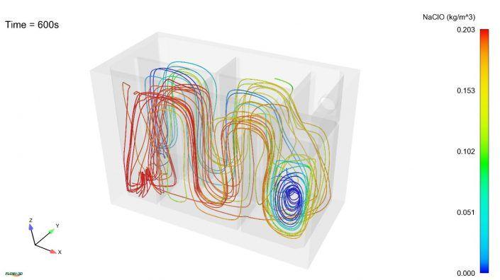 Simulación CFD de tanque de contacto para cloración