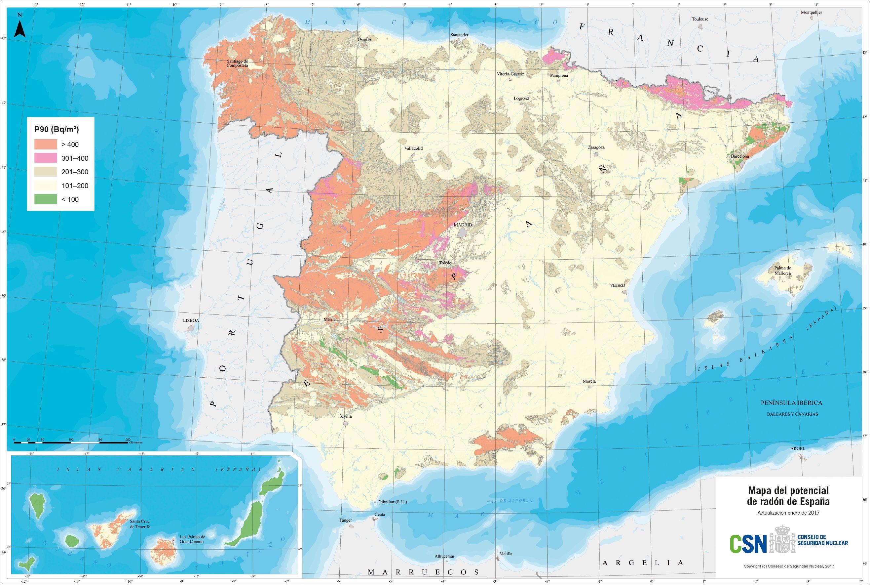 Mapa potencial radón España